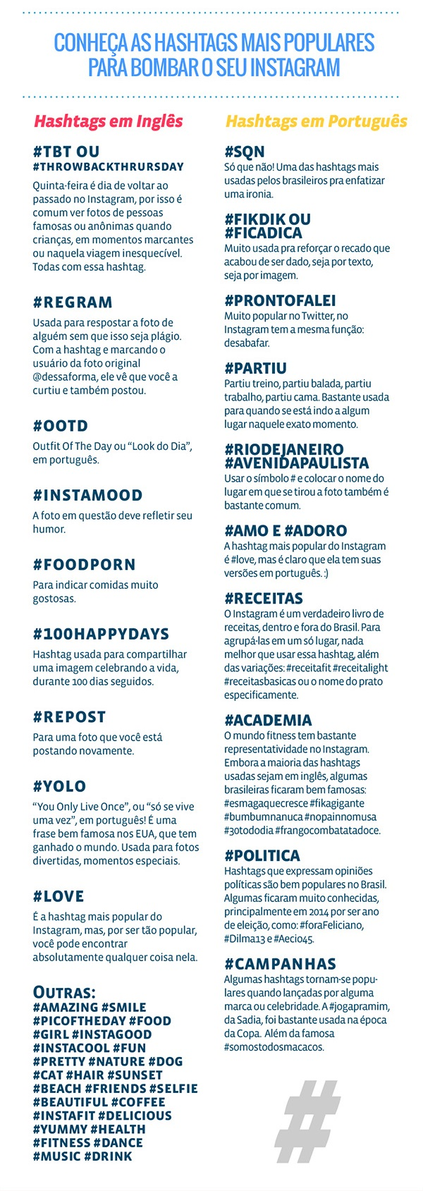 como bombar com as hashtags