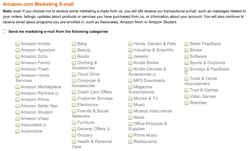 email marketing - amazon